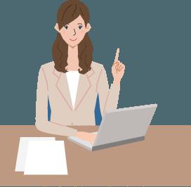 イラスト:女性が机に座りパソコンを操作している