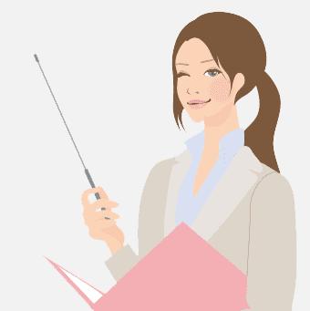 イラスト:パソコンを開いて机に座っている女性