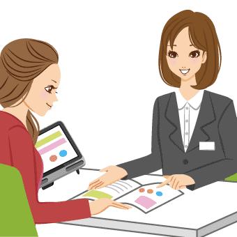 イラスト:女性相談員が、働きたい女性の相談に乗っている