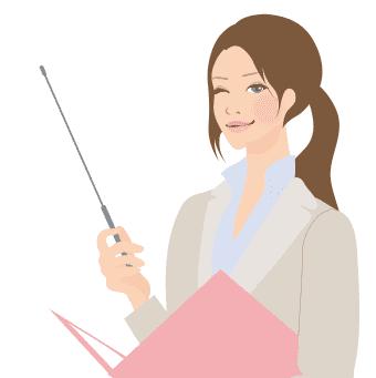 イラスト:女性がバインダーを片手に持っている