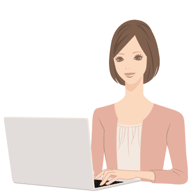 イラスト:女性がパソコンに向かっている