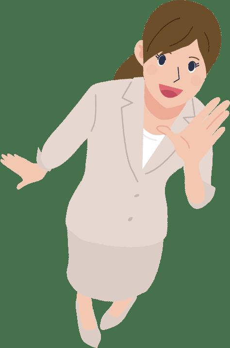 イラスト:左手を口元に添えて叫んでいる女性